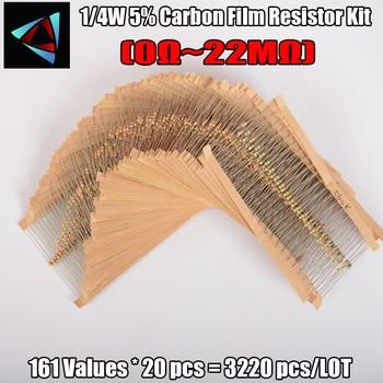 3220 pcs/lot 1/4W 0.25W 5% 0R~22M 161values*20pcs=3220 pcs Carbon Film Resistor Assorted Kit Resistor Pack samples фото