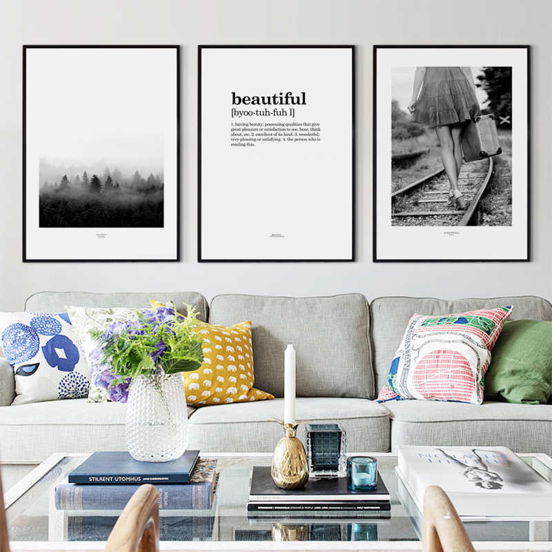 Black And White Retro Photograph Forest Railway English A2 Canvas Painting Art Poster Wall Print  Picture Living Room Home Decor