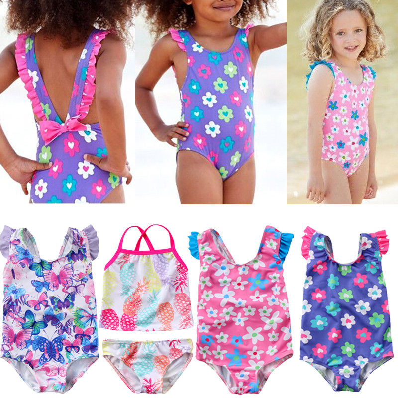 Baby Girl One Piece Swimsuit Flower Waterlemon Print Backless Bathing Suit Swimwear Bikini Beachwear