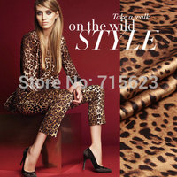 15021804 coffee leopart Printed wide Silk Satin Fabric for silk dress