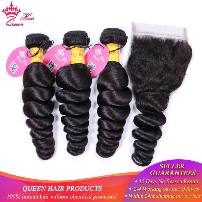 Queen Hair Peruvian Loose Wave Human Hair Bundles With Closure Natural Color 1B 3 Bundles Remy
