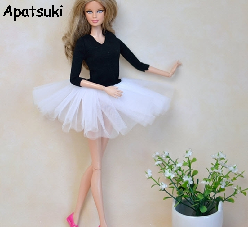 Doll Clothes Sweet Classical White Black Ballet Dress For Barbie Doll Party Gown Dress Clothing Accessories
