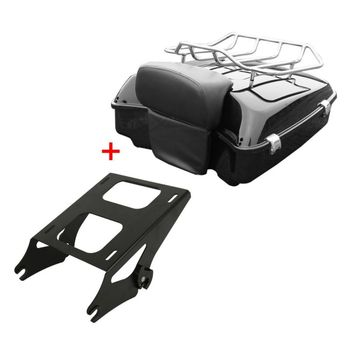 Motorcycle Chopped Tour Pack Trunk Razor Backrest +Rack For Harley Touring Road King Electra Street Glide Models 14-18