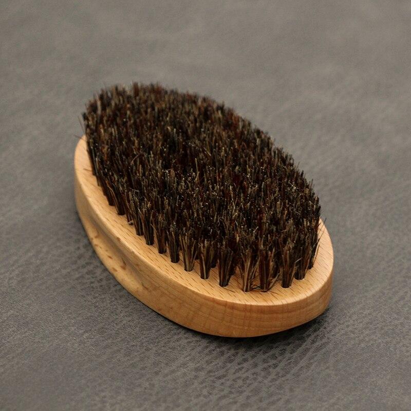 Real Boar Bristles Wooden Shaving Brush Portable Oval Brush For Beards Mustache Face Massage