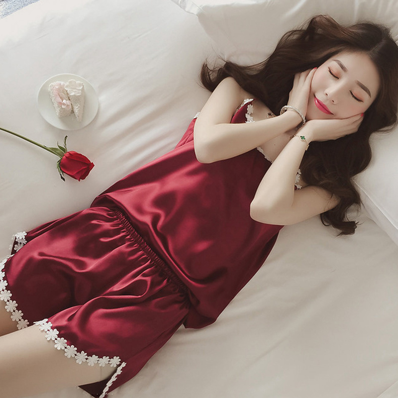 Ladies Sexy Silk Satin Pajama Set Lace Pyjama Set Sleeveless Pejama Set V-neck Sleepwear Summer Home Wear Sleep Wear For Women