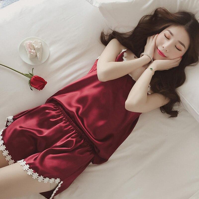 Ladies Sexy Silk Satin   Pajama     Set   Lace Pyjama   Set   Sleeveless Pejama   Set   V-neck Sleepwear Summer Home Wear Sleep Wear For Women