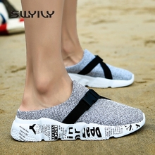 SWYIVY Men Slippers 46 Bandage Breathable 2018 Summer New Male Half Slippers Hole Clogs Shoes Wedge Boy Casual Slides Platform