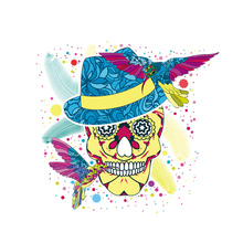 10pcs Ethnic Skull Patch Iron On Clothes A-Level Washable T-Shirt Diy Decoration Parches Ropa Print By Household Irons Applique