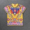 Top Versão Nacional Do Vintage T shirt Das Mulheres Dos Homens Roupas de Verão de Algodão de Alta Qualidade Real Pavão Flores Palácio Estilo camisetas