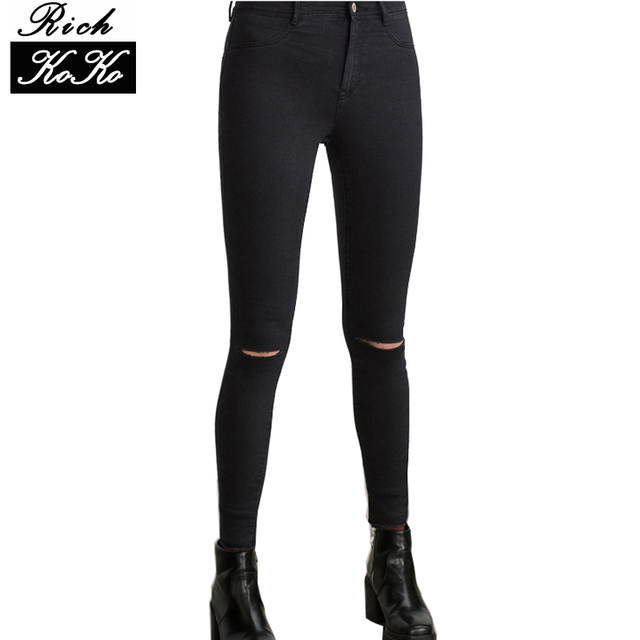 Richkoko Denim Women Sexy Casual Pants Solid Black Distressed Knee Broken Hole Jeans Streetwear Fashion Pockets Skinny Jeans
