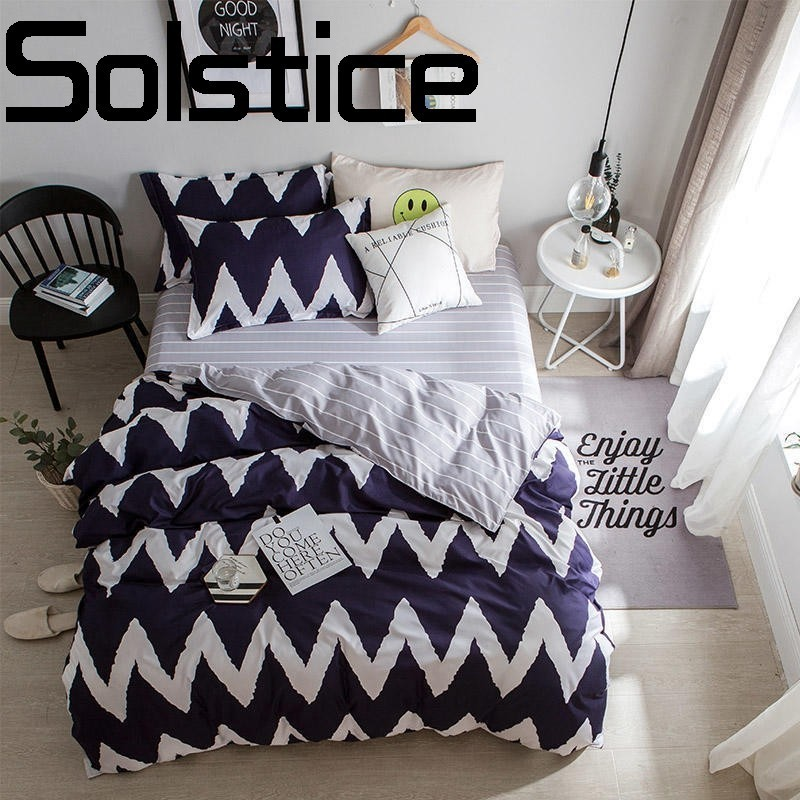 Solstice Home Sleek minimalist and comfortable active printing dyeing cotton bed linen Quilt cover pillowcase bedding 3/4pcsSolstice Home Sleek minimalist and comfortable active printing dyeing cotton bed linen Quilt cover pillowcase bedding 3/4pcs