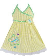 Sunny Fashion Girls Dress Yellow Tartan Two Butterfly Embroidered Tank Sundress Kids Cotton 2016 Summer Princess Size 12M-5