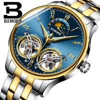 Saatler'ten Mekanik Saatler'de Isviçre saatler erkekler lüks marka BINGER safir su geçirmez Toubillon otomatik mekanik ay fazı erkek saati B 8606MN 5