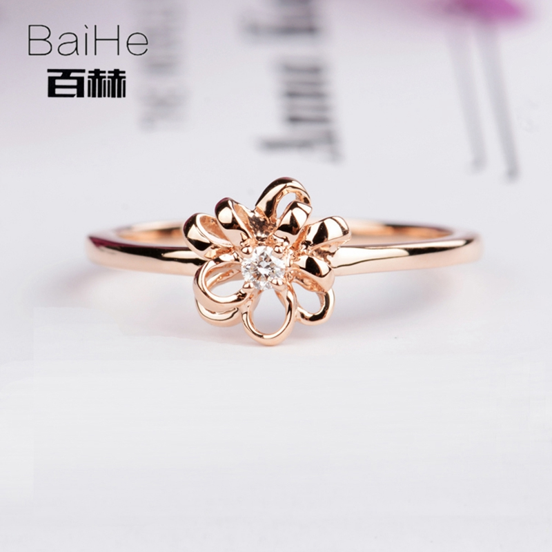 BAIHE Solid 14K Rose Gold 0.03CT Certified H/SI Round Cut Genuine Natural Diamonds Engagement Women Trendy Fine Jewelry Ring solid 14k rose gold 4 5mm round cut natural morganite engagement ring si h full cut natural diamonds wedding ring fine jewelry