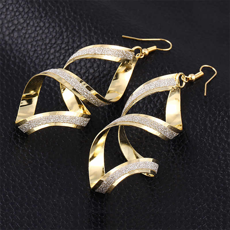 Long Earring Glitter Distortion Rotating Drop Earrings For Women Gold Silver Plated Eardrop Fashion Ear Jewelry Accessories