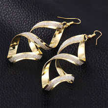 Long Earring Glitter Distortion Rotating Drop Earrings For Women Gold Silver Plated Eardrop Fashion Ear Jewelry Accessories