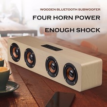 High-power Wooden Bluetooth Speaker With Four Horns Support Hands-free Calling & TF Card & AUX Compatible With Bluetooth