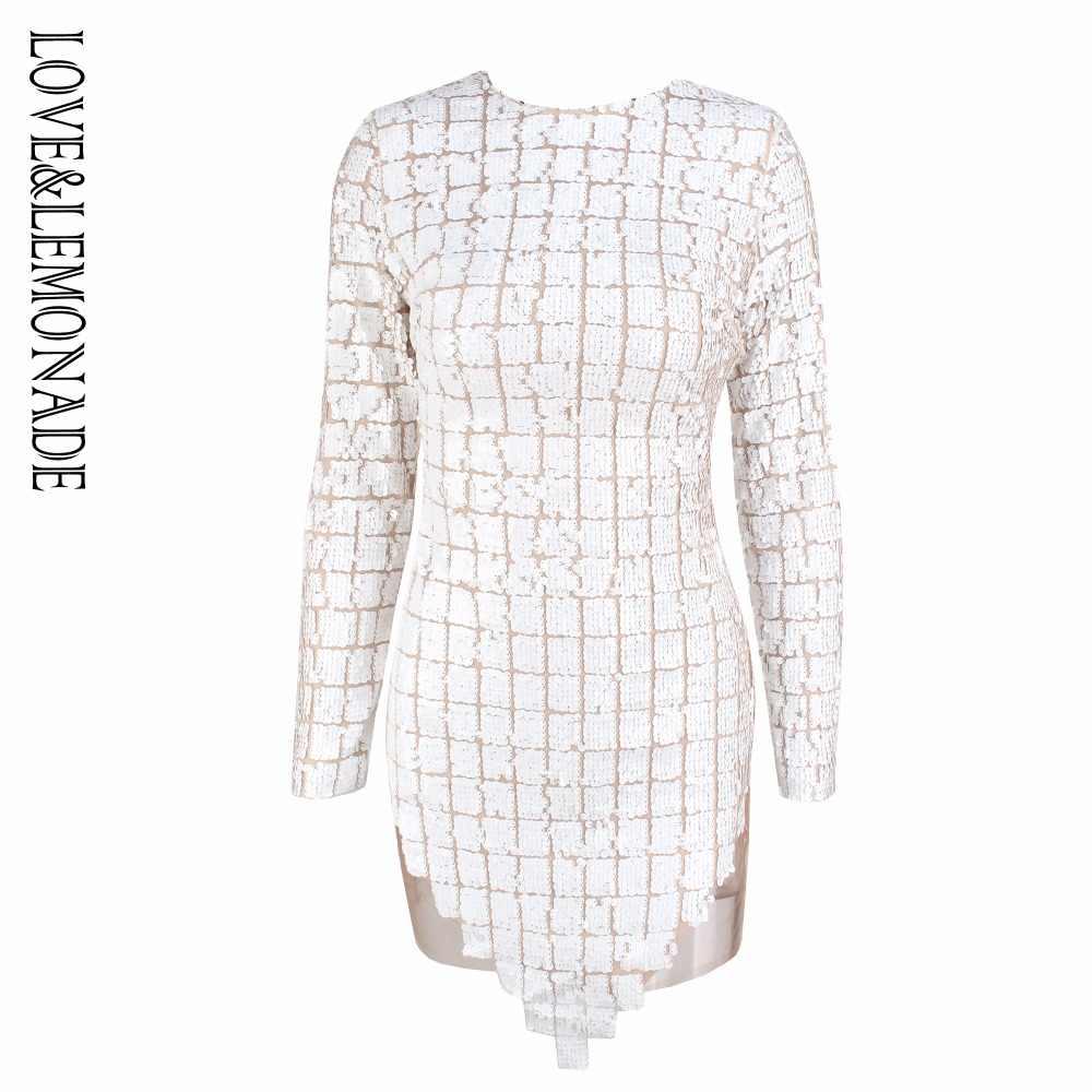 Белое клетчатое Сетчатое платье с пайетками Love & Lemonade LM0783