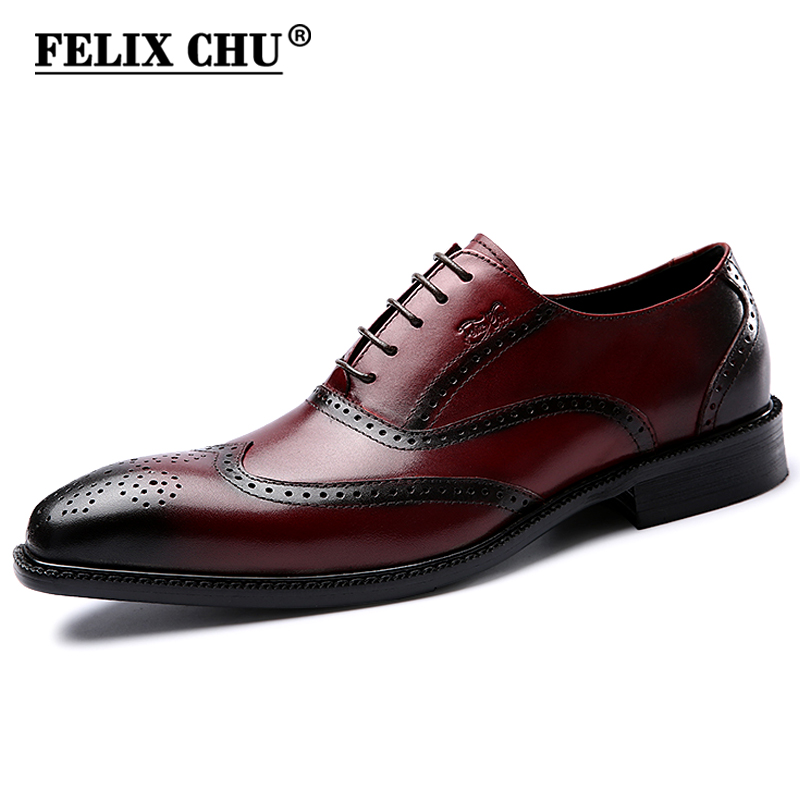FELIX CHU Luxury Classic Genuine Leather Men Wedding Brogue Oxford With Wingtip Lace Up Burgundy Office Party Formal Dress Shoes burgundy cami playsuit with lace details