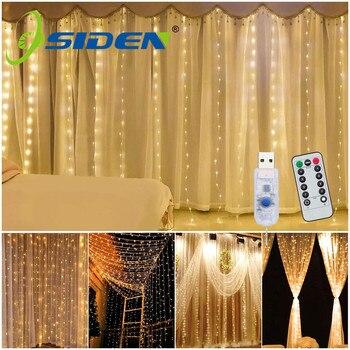 Luz de cortina Led 3X3M 300 Led cadena de luces de hadas de Navidad guirnalda usb para boda en casa al aire libre/ decoración de fiesta/vacaciones
