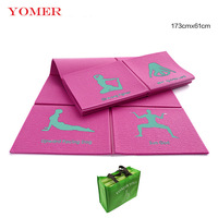YOMER Yoga Mat 8mm Yoga Pads Fitness Mat PVC Material for Exercise Gymnastics Mats Fold Unique Design Fitness with Yoga Bag