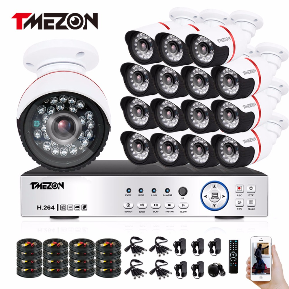 Tmezon HD 16CH 1080P DVR 16Pcs AHD 2.0MP 1080P Camera Security Surveillance CCTV System Outdoor Waterproof IR Night Vision Kit zosi 1080p 8ch tvi dvr with 8x 1080p hd outdoor home security video surveillance camera system 2tb hard drive white
