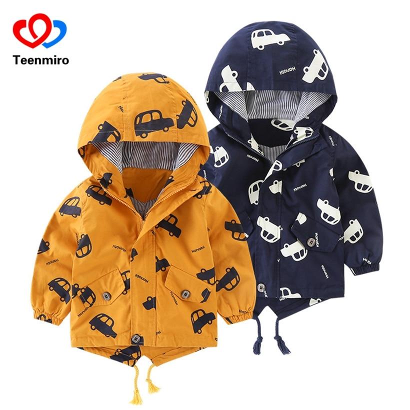Весенние милые автомобиль с капюшоном Детская ветровка пальто для мальчиков куртка для маленьких девочек одежда верхняя одежда для детей я...