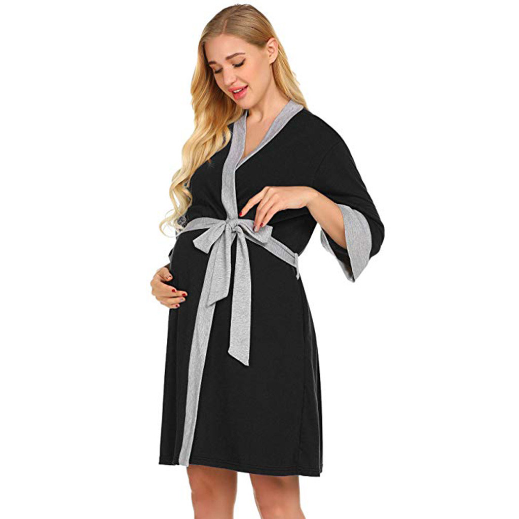 529f47ca60ce7 Maternity Nursing Robe Delivery Nightgowns Hospital Breastfeeding Gown  clothes for pregnant women vetement femme ropa mujer-in Sleep & Lounge from  Mother ...