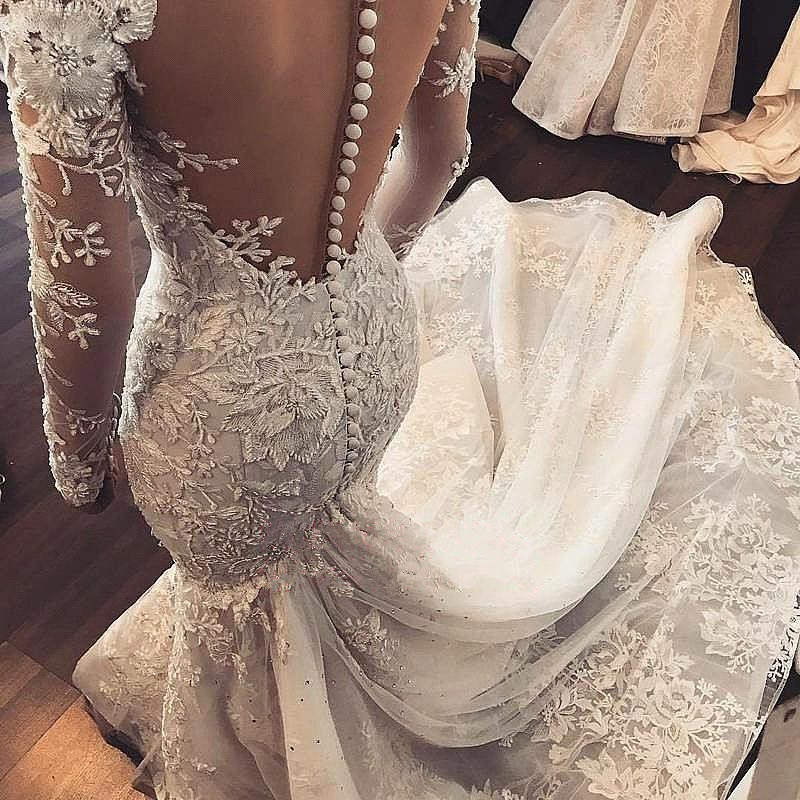vestido novia 2019 Sexy Mermaid Wedding Dress Long Sleeves White Ivory Lace Applique Wedding Gowns Open Back Bride Wedding Dress
