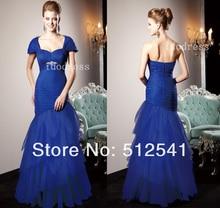 Elegant Formal Mermaid Long Blue Sweetheart Mother of the Bride Dresses Top grade Organza Beading Ruffle yk-8B50