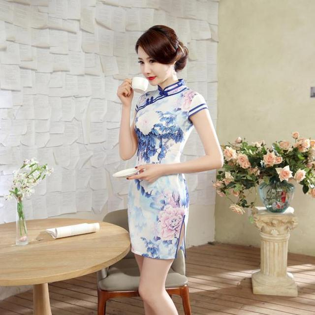 Elegant Flowers Chinese Women's Traditional Cheongsam Classic Satin Sexy Short Qipao Summer Casual Dress S M L XL XXL LGD52
