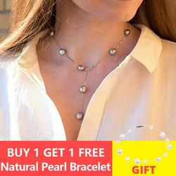 ASHIQI натуральная 925 пробы серебряный кулон ожерелье для женщин 8,5-9,5 мм белый серый натуральный пресноводный барочный жемчуг ювелирные