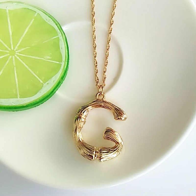 e9a695eec00e Simple cadena de oro de moda inglés collar de la letra ...