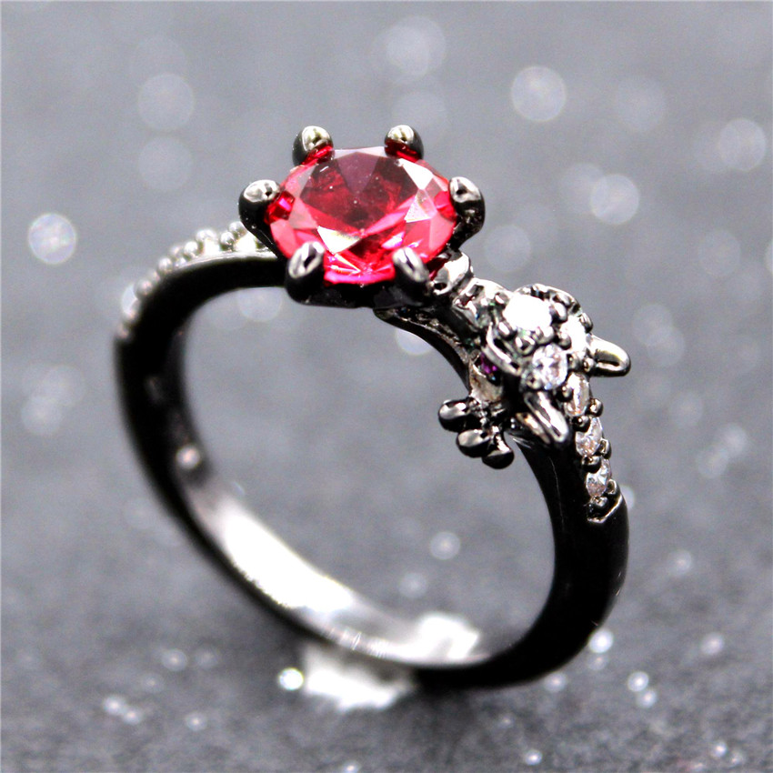 Uloveido Fashion Black Dragon Rings for Women Party Ring with Stones Gifts for Girls Animal Bague Femme Red Anillos Mujer Y192