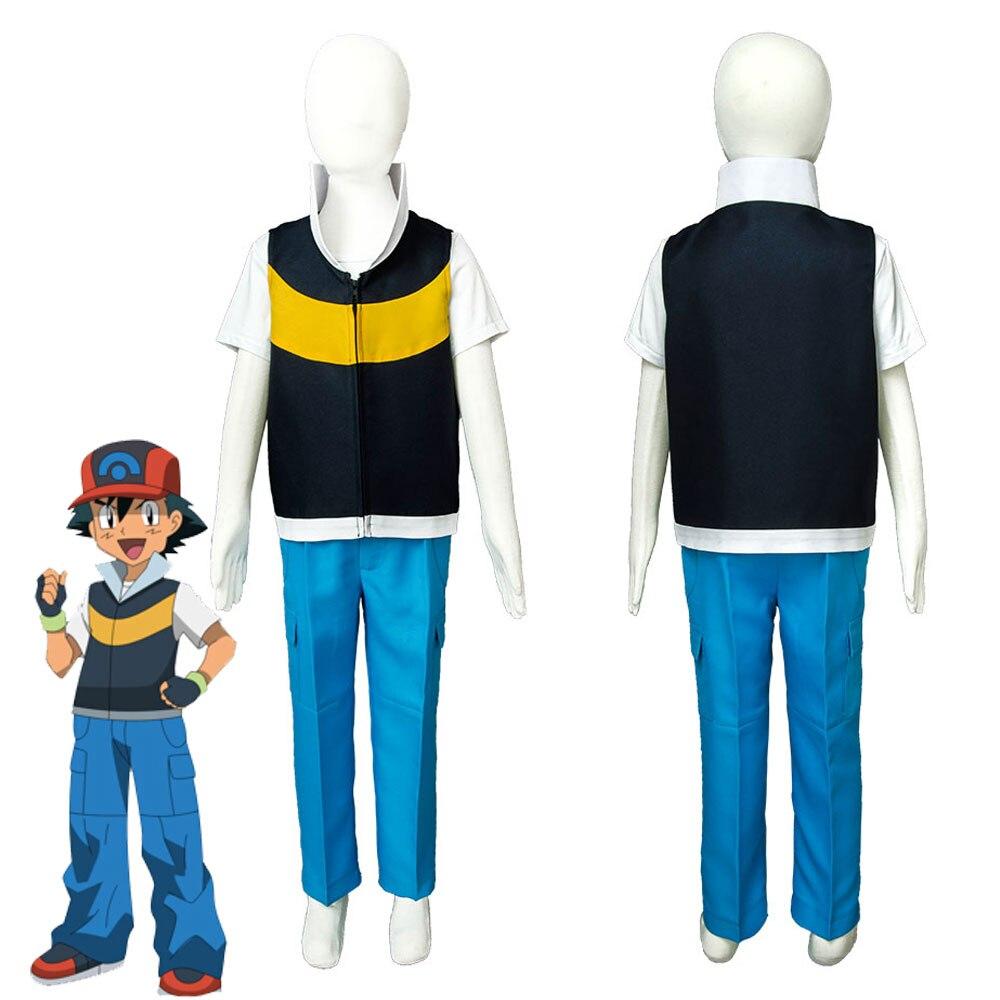 Kids Pokemon DP Ash Ketchum Satoshi Season 3 Diamond and Pearl Cosplay Costume Halloween Carnival Child Costume