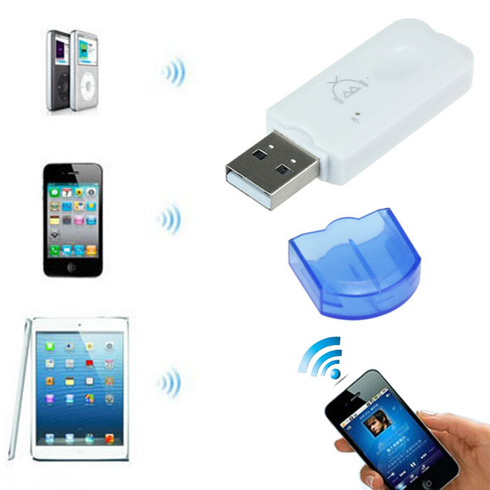 New Blue Wireless USB Bluetooth Audio Music Receiver Adapter For iPhone 4 5