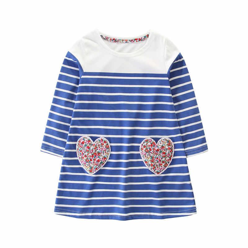 Nieuwe Jurken gestreepte baby meisje herfst kleding kids hot selling lange mouwen jurken nieuwe ontworpen jurk voor kleine meisjes 2 -7 T