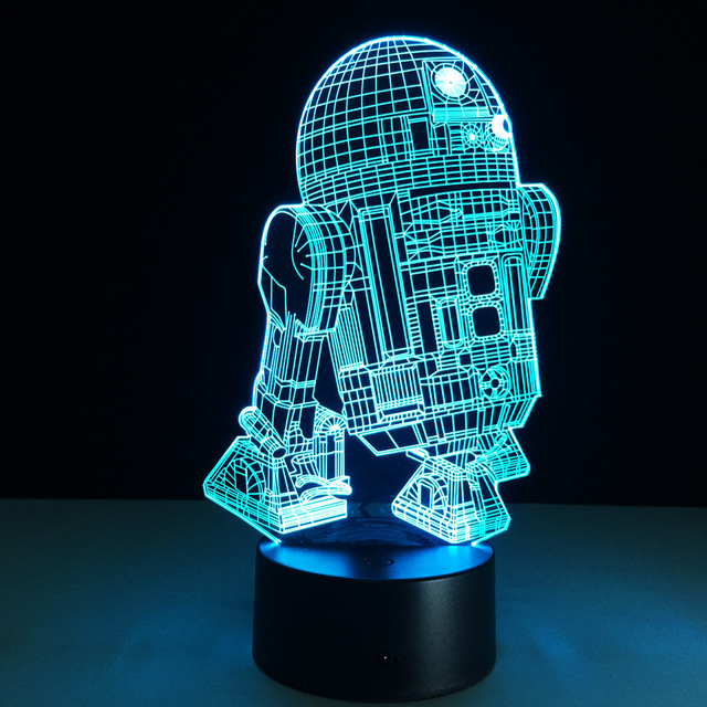 Awesome Star Wars R2D2 Figure 3D Led Night Light Lamp Star Wars Colorful USB LED  Acrylic Lighting