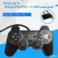 NYGACN NJP309 manija del juego con cable para PS2 + conexión USB gamepad para PS2/equipo controlador de juegos para PS3 dual choque Freeshipping