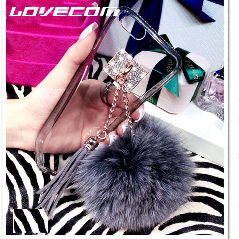 LOVECOM Luxury Blingbling Fur Ball Tassel Charm Phone Cases Cover Transparent Soft TPU Coque Capa For iphone 6 6S 6Plus 6SPlus