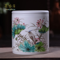 Changwuju in jingdezhen fine home decoration Handmade famille rose brush pot as stationery accessories painted by Jinhongxia