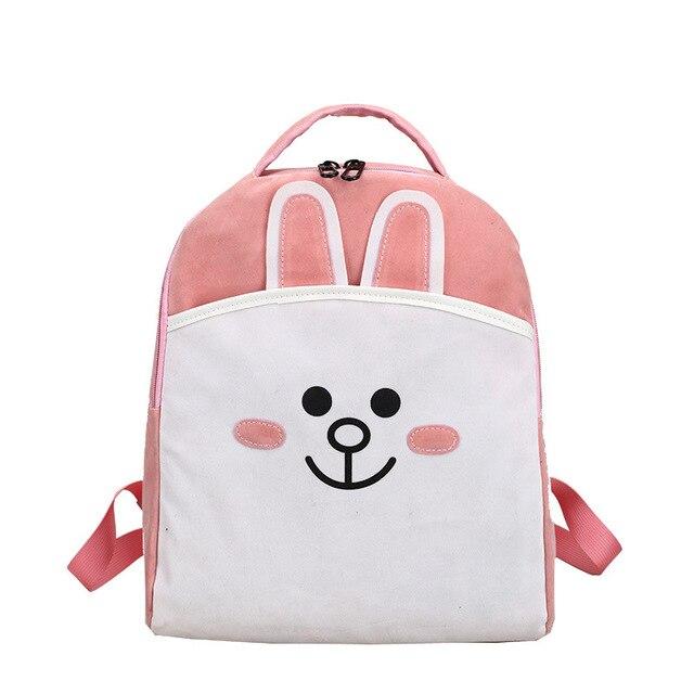 34570659e9c Cartoon Line Stad Bruin Konijn Kawaii Emoji Afdrukken Rugzak Anime  Schooltassen Roze Rugzakken voor Tienermeisjes Mochila