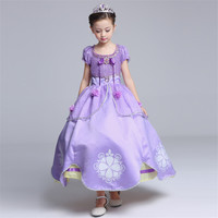 Halloween Party Princess Aurora Girl Sofia Cosplay Dress Up Long Costumes Kids Girls Tulle Party Performance