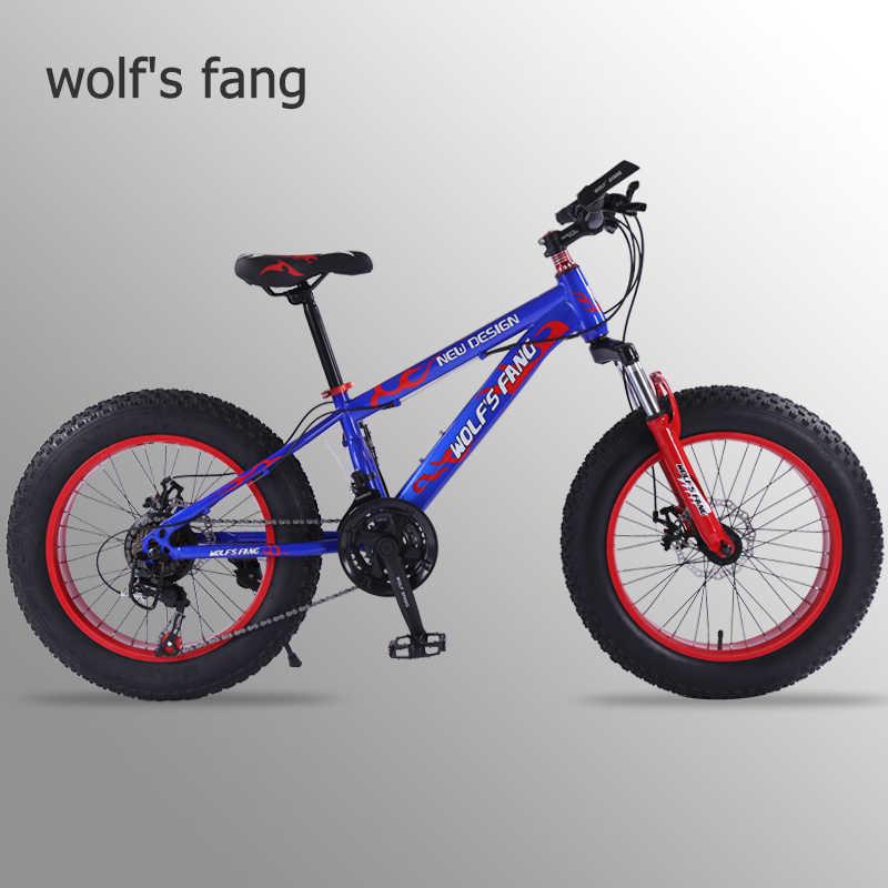 wolf's fang mountain bike 21 speed 2.0 inch bicycle Road bike Fat Bike  Mechanical Disc Brake Women and children  bicycles