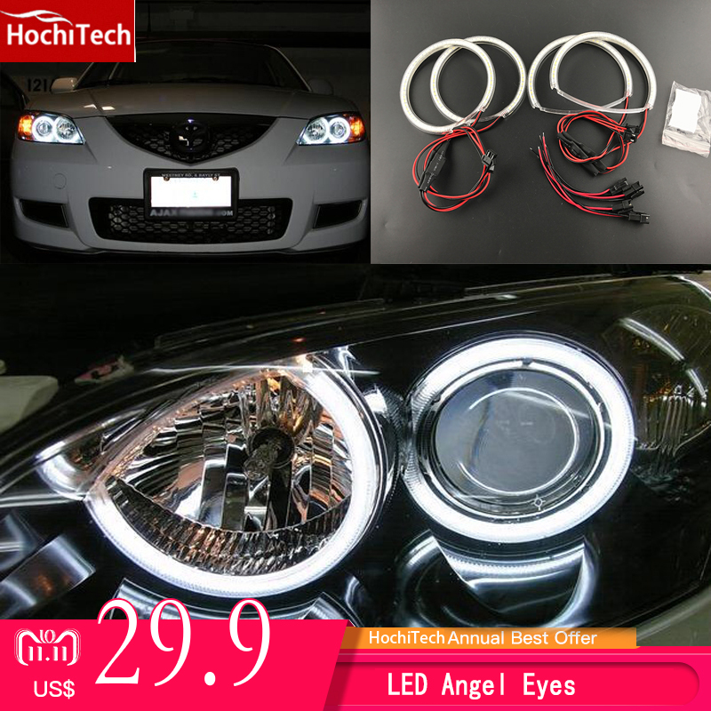 HochiTech Ultra bright SMD white LED angel eyes 2000LM 12V halo ring kit daytime running light DRL for Mazda 3 mazda3 2002-2007 for mazda 3 mazda3 2002 2003 2004 2005 2006 2007 ultra bright day light drl ccfl angel eyes demon eyes kit warm white halo ring