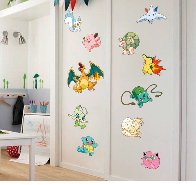 Cartoon Hot Game Cartoon Movie Pokemon Animation Wall Sticker Pikachu Kidu0027s  Gift Nursery Room Bedroom Wall Stickers Home Decor Part 80