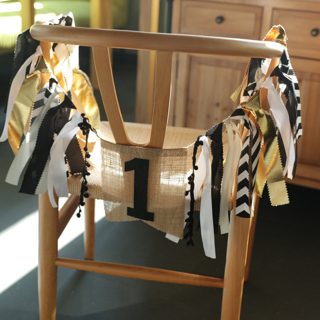 Highchair Birthday Party Banner Sackcloth White Black Stripe Gold Bunting for Bar Coffee Shop Party Decorations