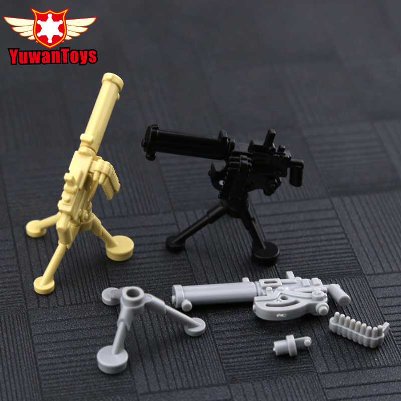 25Pcs WW2 Army Weapons Bricks Gatling M2 Mortar Bazooka Building Block Accessories Heavy Machine Gun Model Toy for Children