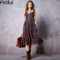 Artka Women S Spring New New Boho Style Ethinic Printed Square Collar Sleeveless Mid Calf Wide