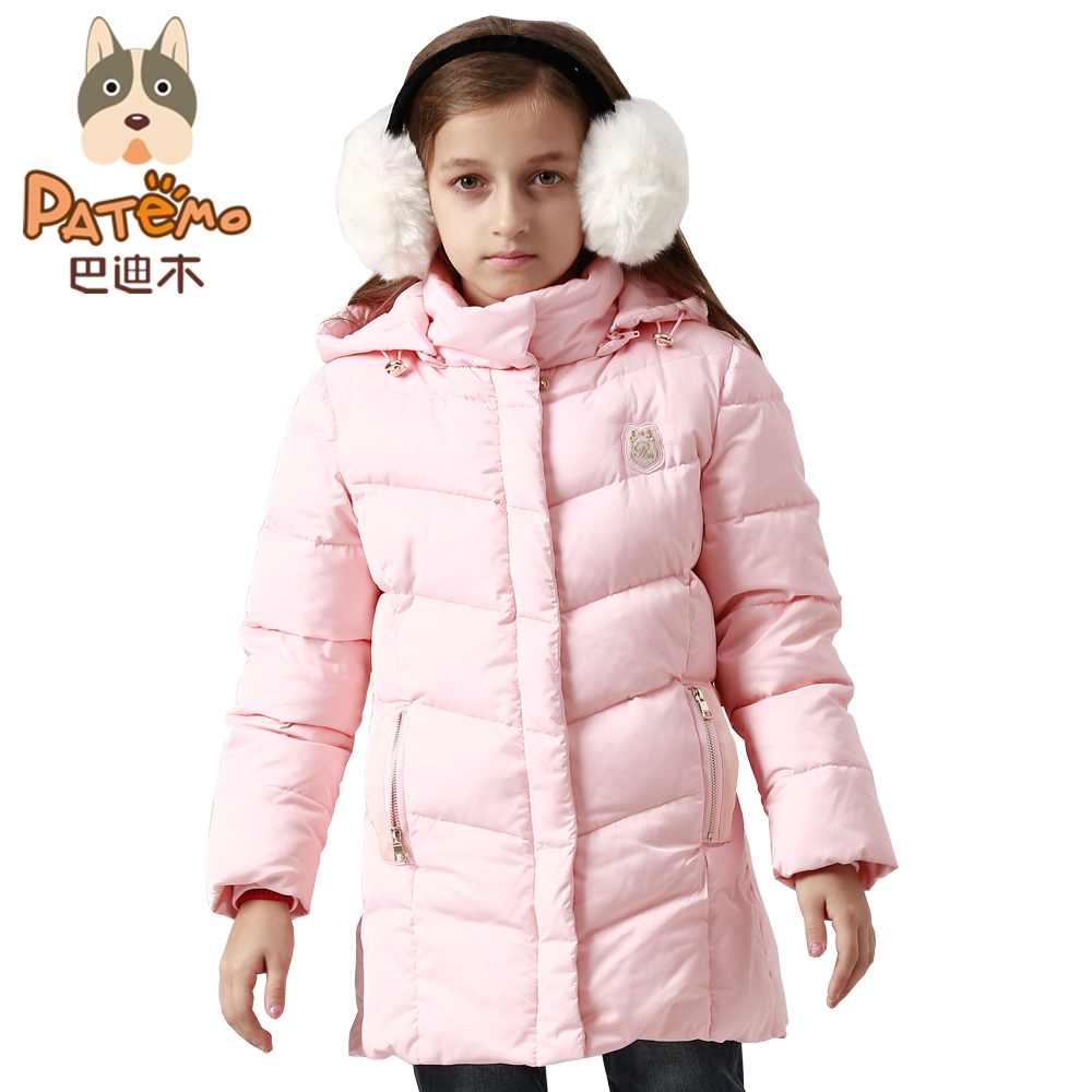 ФОТО PATEMO Winter Long Jackets for Girls Zipper Closure Pink Thick Kids Girl Down Coat Keep Warm Detachable Cap Rib Cuff Windproof